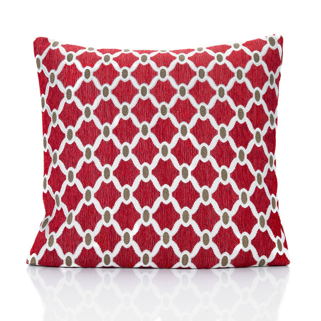 "JACQUARD CHECK RED 22"" 55CM PIPED CUSHION COVER Huis Kussens, stoelzitjes"