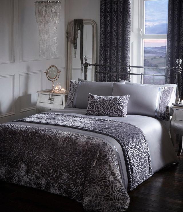 Buy Amelia Crushed Velour Floral Duvet Cover Set Bedding
