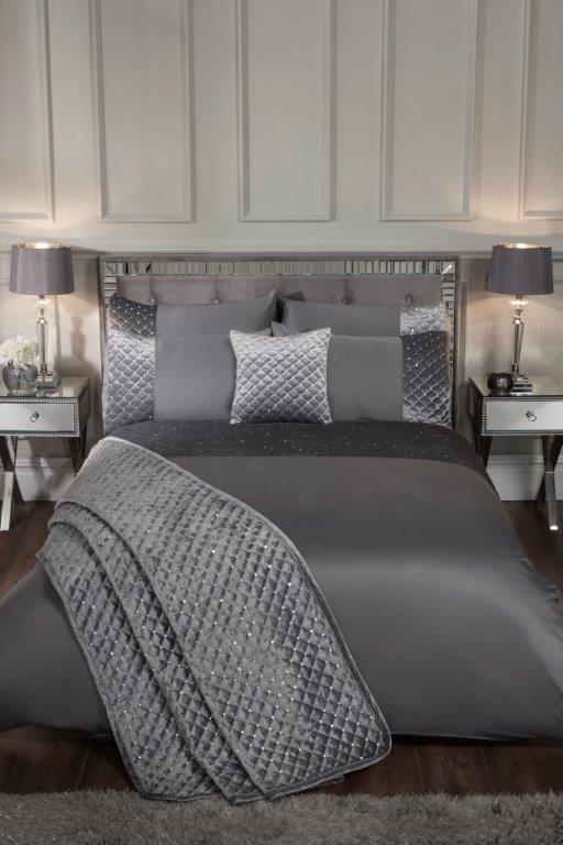 Glamour Quilted Velvet Duvet Cover, Grey Silver Bedding