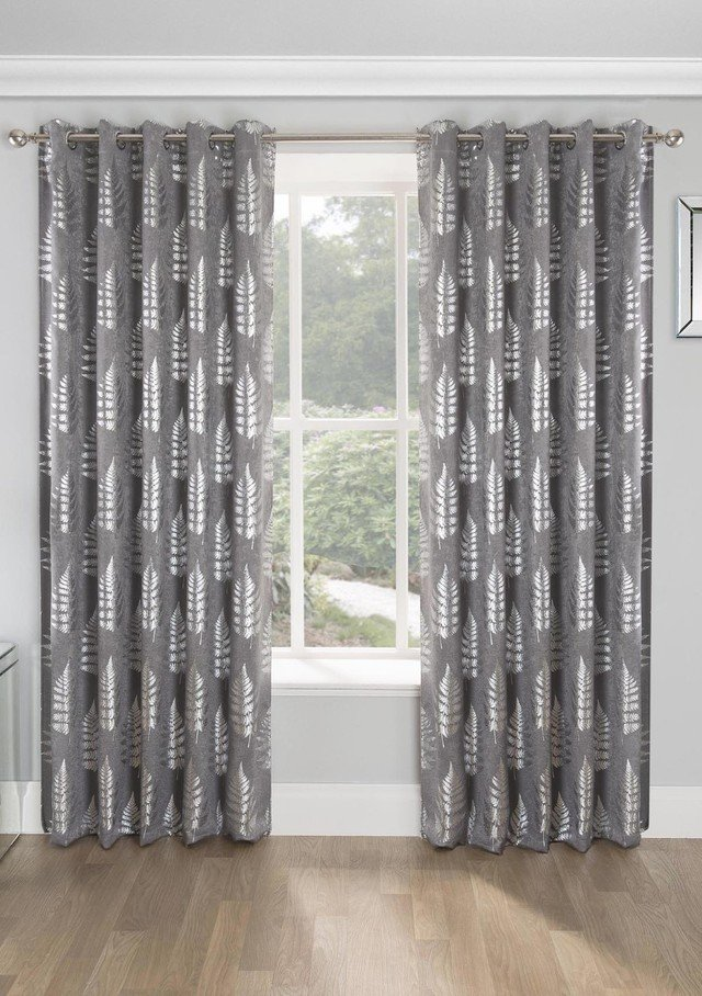 RITZ Metallic Print Thermal Blockout Lined Ready Made Eyelet/Ring Top Curtains Pair