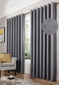 DIAMOND Geometric Woven Lined Blockout Ready Made Eyelet/Ring Top Curtains Pair