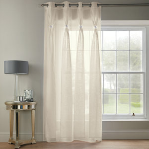 DIANA DOLLY Diamante Voile Net Curtain Ready Made Eyelet/Ring Top Single Panel