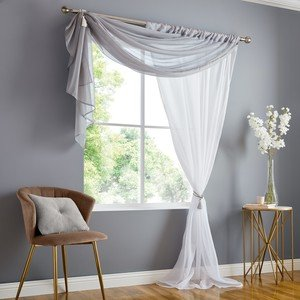 DOUBLE DISPLAY Voile Net Curtain Ready Made Slot Top Single Panel