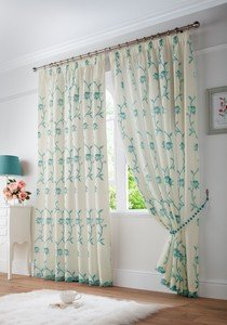 EXETER Floral Faux Silk Voile Thin Lined Ready Made Tape Top Pencil Pleat Curtains Pair