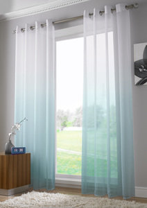 HARMONY Two Tone Ombre Effect Voile Net Curtain Ready Made Eyelet/Ring Top Single Panel