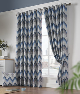 OSLO Zig-Zag Geometric Woven Lined Blockout Ready Made Eyelet/Ring Top Curtains Pair