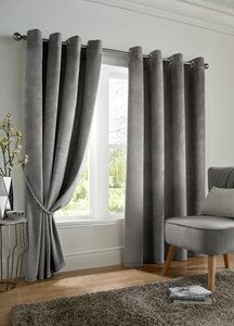 VELVET BLACKOUT Thermal Lined Ready Made Eyelet/Ring Top Curtains Pair