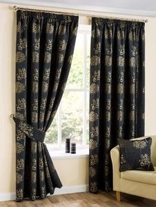 ARDEN Plant Tree Lined Ready Made Tape Top Pencil Pleat Curtains Pair