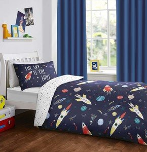 SPACE Rockets Planets Stars Glow in the Dark Reversible Duvet Cover Set