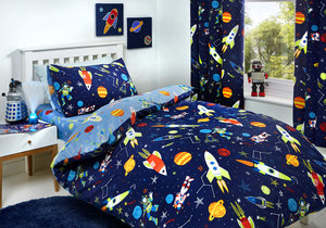 SUPERSONIC Space Glow in the Dark Reversible Duvet Cover Set Bedding Range