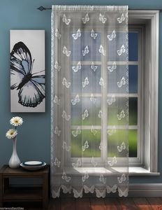 BUTTERFLY Lace Sheer Voile Net Curtain Ready Made Slot Top Single Panel