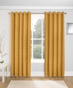 ARUBA Textured Voile Thin Lined Ready Made Eyelet/Ring Top Curtains Pair