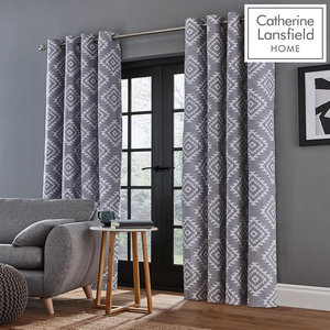 Catherine Lansfield Aztec Eyelet Curtains Ring Top Curtains Pair