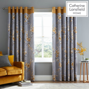 Catherine Lansfield Canterbury Eyelet Curtains Ring Top Curtains Pair