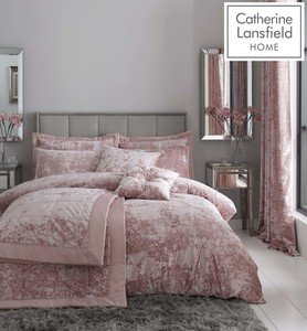 Catherine Lansfield Crushed Velvet Duvet Cover Set Bedding Curtains Range