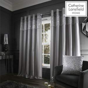 Catherine Lansfield Glitzy Eyelet Curtains Ring Top Curtains Pair