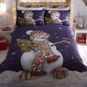 Christmas HAPPY SNOWMAN Duvet Cover Set