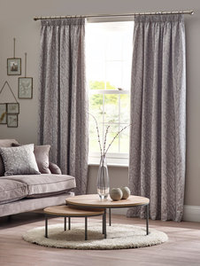 SIENNA Floral Tree Leaf Lined Tape Top Pencil Pleat Curtains Pair