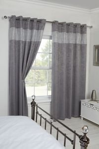 "DIANDRA Diamante Thermal Blockout Eyelet Ring Top Curtains Pair 66"" width x 54"" drop"