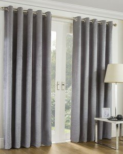 EMBOSSED GEO Textured Soft Lined Ready Made Eyelet/Ring Top Curtains Pair