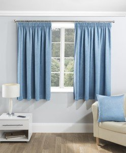 SERENITY Thermal Woven Blockout Lined Ready Made Tape Top Pencil Pleat Curtains Pair