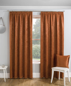 GEMINI Metallic Print Thermal Blockout Lined Ready Made Tape Top Pencil Pleat Curtains Pair