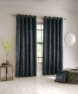 HALO Metallic Shimmer Thermal Blockout Lined Ready Made Eyelet/Ring Top Curtains Pair