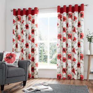 ADRIANNA Floral Print Lined Ready Made Eyelet/Ring Top Curtains Pair