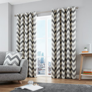 CHEVRON Zig-Zag Geometric Print Lined Ready Made Eyelet/Ring Top Curtains Pair
