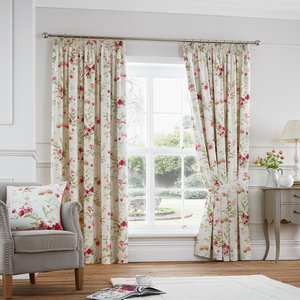 JEANNIE Floral Print Lined Ready Made Tape Top Pencil Pleat Curtains Pair