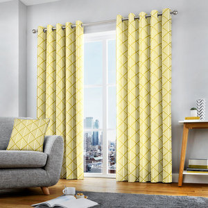 BROOKLYN Geometric Print Lined Ready Made Eyelet/Ring Top Curtains Pair