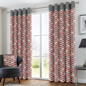 COPELAND Geometric Leaf Lined Ready Made Eyelet/Ring Top Curtains Pair