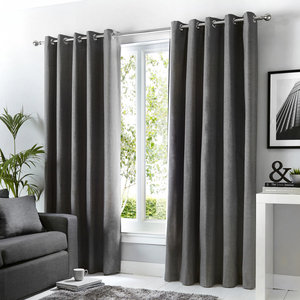 SORBONNE Plain Dyed Lined Ready Made Eyelet/Ring Top Curtains Pair