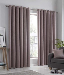 STRATA Thermal Dim Out Light Reducing Ready Made Eyelet/Ring Top Curtains Pair