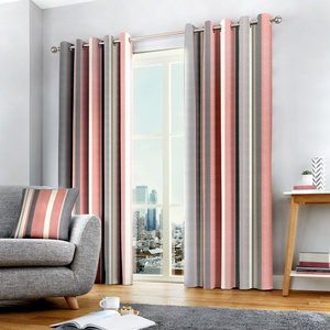 WHITWORTH Vertical Stripe Print Lined Ready Made Eyelet/Ring Top Curtains Pair