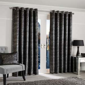 GLIMMER Shimmer Shine Lined Ready Made Eyelet/Ring Top Curtains Pair