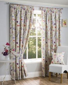 HAMPSHIRE Floral Printed Lined Ready Made Tape Top Pencil Pleat Curtains Pair