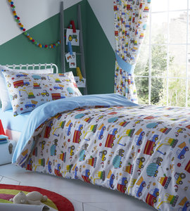BRIGHT TRUCKS Lorries Diggers Colourful Reversible Duvet Cover Set Bedding Range