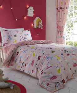 LET'S PLAY Dress-Up Mice Colourful Hearts Reversible Duvet Cover Set Bedding Range