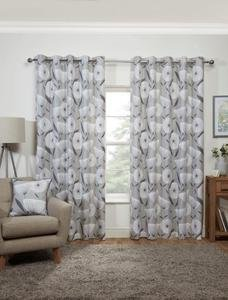 AMELIA Modern Abstract Floral Print Lined Ready Made Eyelet/Ring Top Curtains Pair