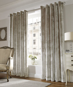 Ashley Wilde LUX Soft Velvet Chenille Lined Ready Made Eyelet/Ring Top Curtains Pair