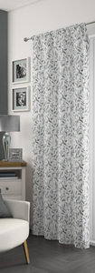 FREYA Leaf Print Voile Net Curtain Ready Made Slot Top Single Panel