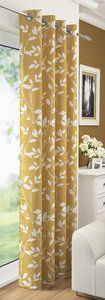 LAURAL Leaf Floral Voile Net Curtain Ready Made Eyelet/Ring Top Single Panel