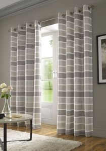 MODA Embroidered Stripe Lined Ready Made Eyelet/Ring Top Curtains Pair