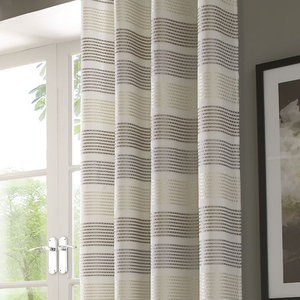 MODA Embroidered Stripe Voile Net Curtain Ready Made Slot Top Single Panel
