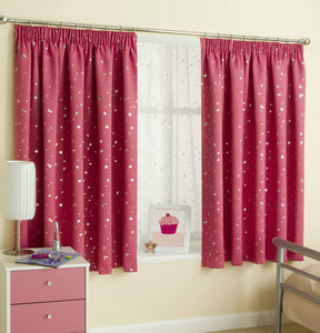 MOON STARS Moonlight Thermal Semi-Blockout Children Tape Top Pencil Pleat Curtains Pair