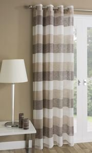 MYKONOS Striped Voile Net Curtain Ready Made Eyelet/Ring Top Single Panel