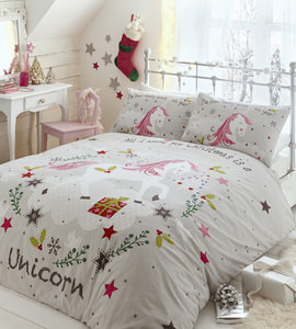 Christmas WISHING FOR UNICORNS Duvet Cover Set