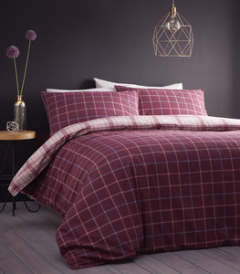 IONA Tartan Check Reversible 100% Brushed Cotton Flannelette Duvet Cover Set