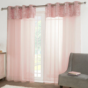 CRUSHED VELVET Voile Net Curtain Ready Made Eyelet/Ring Top PAIR